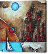 Coastal Abstract Cityscape Art Original City Painting Morning Retreat By Madart Canvas Print