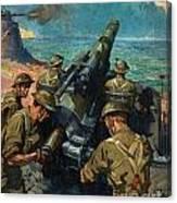 Coastal Battery Scene Artist Terence Cuneo Canvas Print