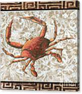 Coastal Crab Decorative Painting Greek Border Design By Madart Studios Canvas Print