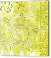 Coastal Decorative Citron Green Floral Greek Checkers Pattern Art Green Whimsy By Madart Canvas Print