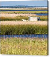 Coastal Marshlands With Old Fishing Boat Canvas Print