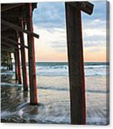 Coastal Sunset At Oceanana Fishing Pier Canvas Print