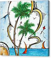 Coastal Tropical Art Contemporary Sailboat Kite Painting Whimsical Design Summer Daze By Madart Canvas Print