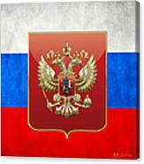 Coat Of Arms And Flag Of Russia Canvas Print