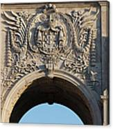 Coat Of Arms Of Portugal On Rua Augusta Arch In Lisbon Canvas Print