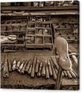 Cobblers Tools Bw Canvas Print