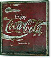 Coca Cola Green Grunge Sign Canvas Print