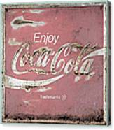 Coca Cola Pastel Grunge Sign Canvas Print