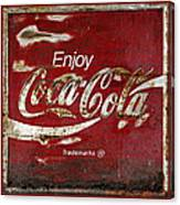 Coca Cola Red Grunge Sign Canvas Print