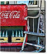 Coca Cola Vintage Cooler And Rocking Chair Canvas Print