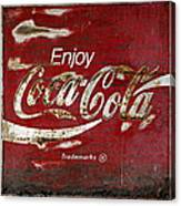 Coca Cola Wood Grunge Sign Canvas Print