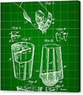 Cocktail Mixer And Strainer Patent 1902 - Green Canvas Print