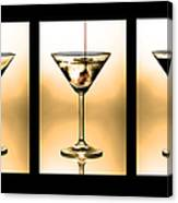 Cocktail Triptych In Gold Canvas Print