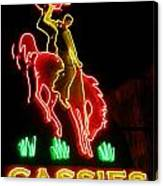 Cody Wyoming Neon Lounge Sign At Night Canvas Print
