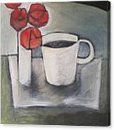 Coffee And Roses Canvas Print