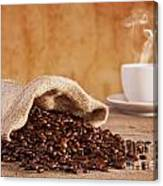 Coffee Beans And Burlap Sack Canvas Print