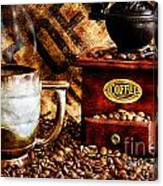 Coffee Beans And Grinder Closeup Canvas Print