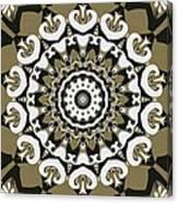 Coffee Flowers 10 Olive Ornate Medallion Canvas Print