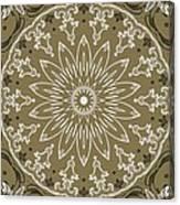 Coffee Flowers 11 Olive Ornate Medallion Canvas Print