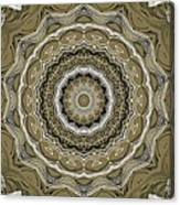 Coffee Flowers 2 Ornate Medallion Olive Canvas Print