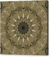 Coffee Flowers 3 Olive Ornate Medallion Canvas Print