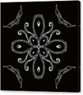Coffee Flowers 4 Bw Ornate Medallion Canvas Print