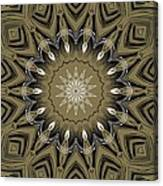 Coffee Flowers 4 Olive Ornate Medallion Canvas Print