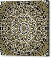 Coffee Flowers 7 Olive Ornate Medallion Canvas Print