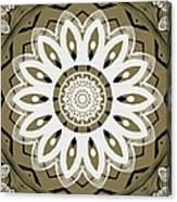 Coffee Flowers 8 Olive Ornate Medallion Canvas Print
