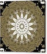 Coffee Flowers 9 Olive Ornate Medallion Canvas Print