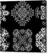 Coffee Flowers Ornate Medallions Bw 6 Peice Collage Canvas Print