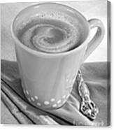 Coffee In Tall Yellow Cup Black And White Canvas Print