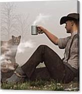 Coffee With A Cougar Canvas Print