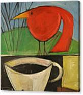 coffee with red bird II Canvas Print