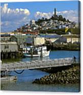 Coit Tower And Marina - San Francisco Canvas Print