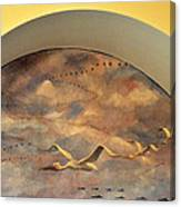 Coit Tower Mural Of Birds In Flight Canvas Print