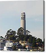 Coit Tower On Telegraph Hill Panorama Canvas Print