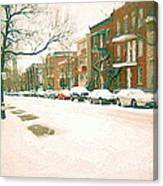 Cold Day In Montreal Pointe St Charles Art Winter Cityscene Painting After Big Snowfall Psc Cspandau Canvas Print