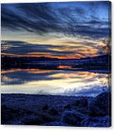 Cold Winter Sunset On The Lake Canvas Print