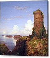 Cole's Italian Coast Scene With Ruined Tower Canvas Print