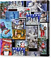 Collage Xmas Cards Vertical Photo Art Canvas Print