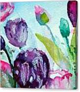 Collecting Pink And Purple Tulips Canvas Print