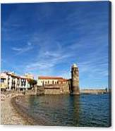 Collioure Beach And Bell Tower Canvas Print