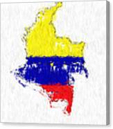 Colombia Painted Flag Map Canvas Print