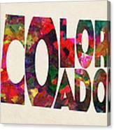 Colorado Typographic Watercolor Map Canvas Print