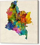 Colombia Watercolor Map Canvas Print
