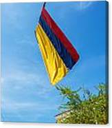 Colombian Flag And Blue Sky Canvas Print