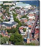 Colonial Annapolis Historic District And Maryland State House Canvas Print