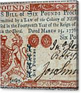 Colonial Currency, 1776 Canvas Print