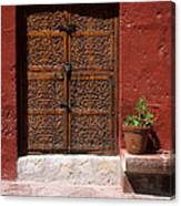 Colonial Door And Geranium Canvas Print